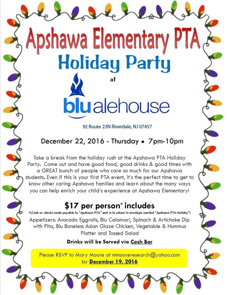 PTA Holiday Winter Party @ BLU Alehouse