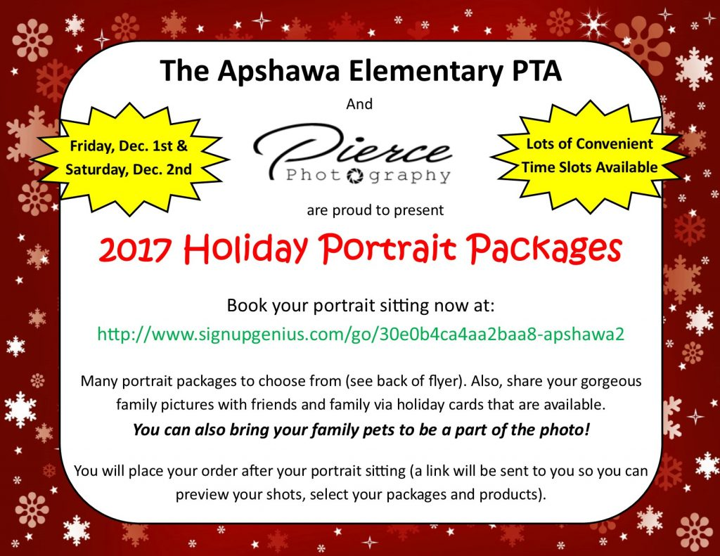 Holiday Portrait Fundraiser @ Apshawa All Purpose Room